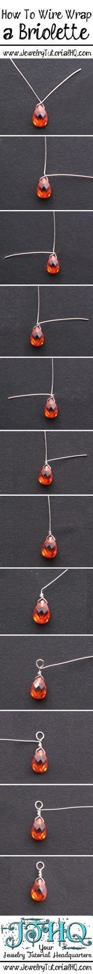 how to wire wrap a briolette step by step tutorial {+ video} #JewelrySupplies