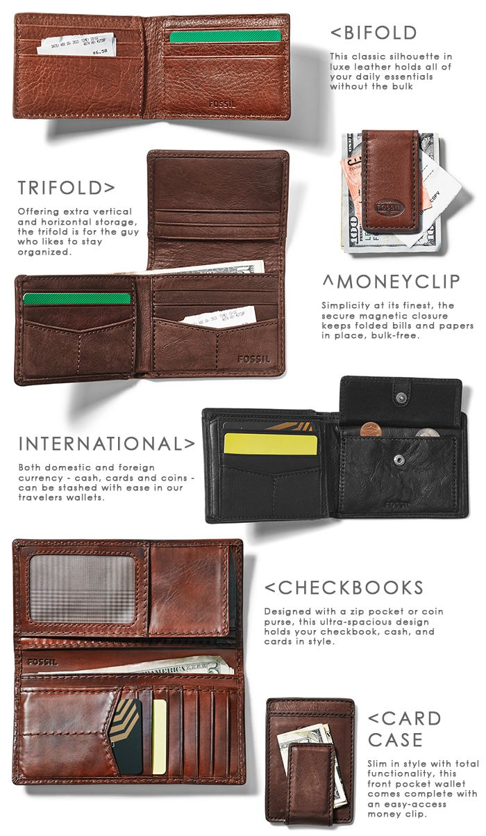 #Fossil Mens Money Management. Here's a breakdown of this season's most functional and stylish men's leather styles.