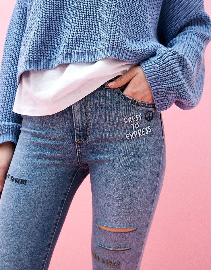 Jean skinny fit brodé - Jeans - Bershka France
