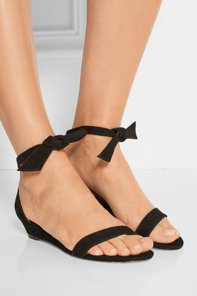 Wedge heel measures approximately 35mm/ 1.5 inches Black suede Ties at ankle Imported