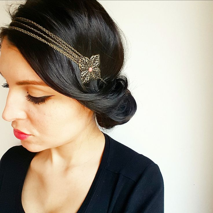 headband fleurs bronze et perles corail head band vintage. Black Bedroom Furniture Sets. Home Design Ideas