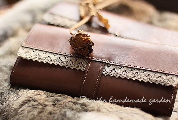 Handmade vintage sweet cute coffee lace leather long bifold wallet for women/lady girl as gift for her