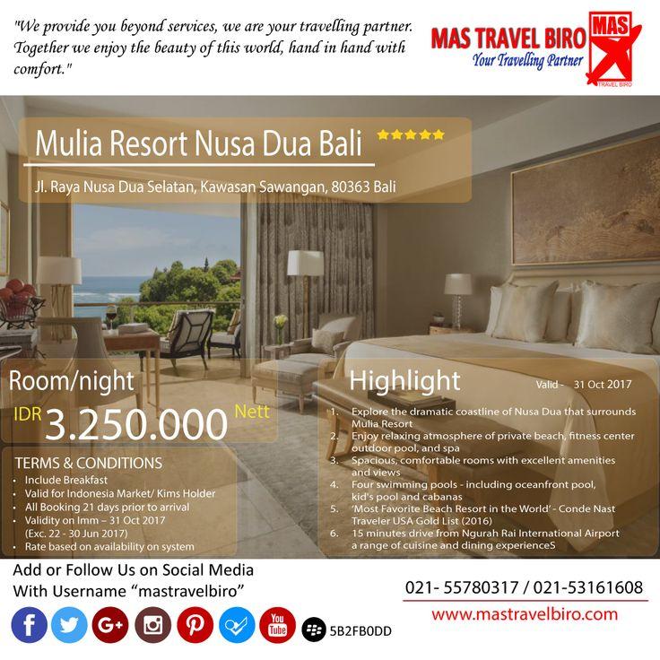 "Promo hotel ""Mulia Resort Nusa Dua Bali"". Ayo cek dan booking~! #bali #promohotel #mastravel"