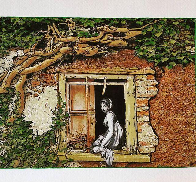 Romantic (Broken Windows series) 2013 cm 25×35 #inkonpaper #acryliconpapers #pencilonpaper #romantic #oldstyle #workonpaper #paperpaint #illustration #figurativeart #brokenwindows #monacoart