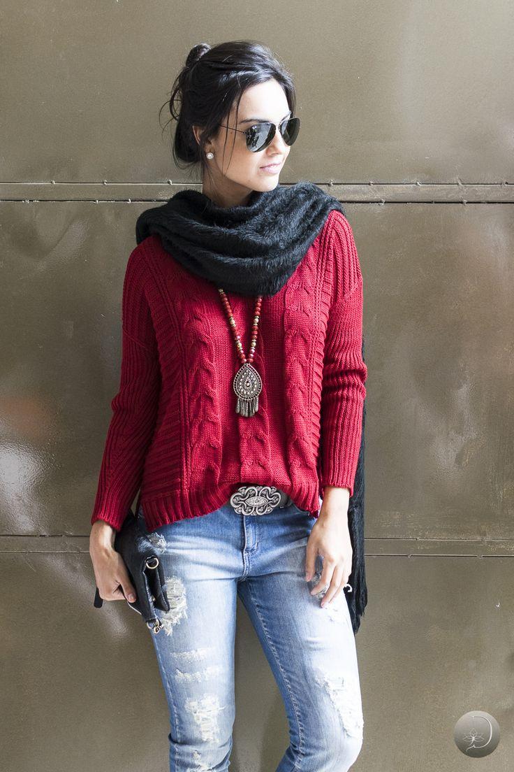 #debrummodas #inverno  #jeans #calça #vermelho #style #estilo #moda #fashion #modafeminina
