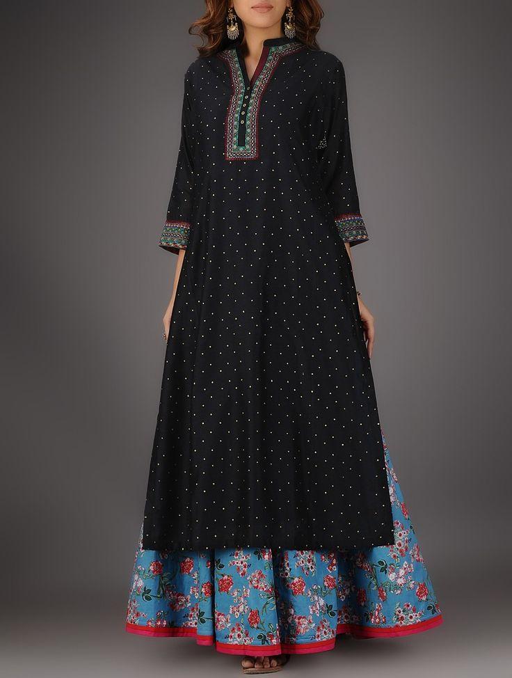Buy Black Nehru Collar Cotton Kurta with Embroidery and Slip (Set of 2) Women Kurtas Utsav Printed Chintz skirts palazzos Online at Jaypore.com