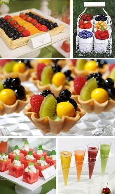 Fabulous Fruit Display -     Fruit Pizza using puff pastry  Individual fruit tarts.   fruit containers using an old rustic farm basket  cubed watermelon with feta cheese topping or other exotic combinations  Fruit smoothies or purees