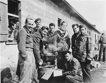"POW's group shot. Two are wearing German reversible padded parkas, probably gathered as ""war booty"". These men were roommates at Stalag Luft III, South Compound, Block 130, Room 10. They kept together on the march in January 1945, sharing food and emotional support.: American Pow, January 1945, Shared Food, Emotional Support, Group Photos, Wwii Pow, Luft Iii, Ally Pow, Stalag Luft"