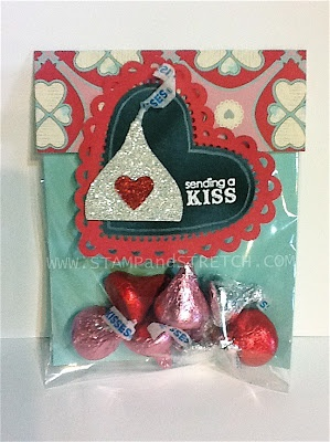 Stampin' Up! Treat Holder  by Pam Strobel at Stamp and Stretch: Blossom Punch turns into a chocolate KISS!