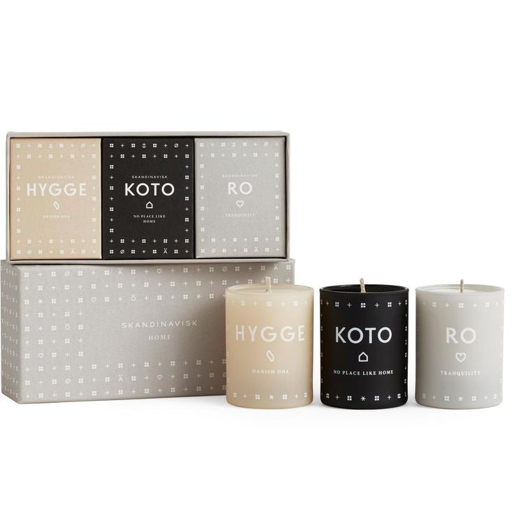 HYGGE, KOTO & RO. A triptych of home fragrances celebrating the Scandinavian priority of creating intimacy, fellowship and cosiness in the smallest everyday moments. Hand-poured into painted glass votives from a blend of perfume and vegetable wax with a 100% cotton wick and protected by a special gift box. Each candle will burn for 16 hours and each votive is designed to be re-usable for tealights.