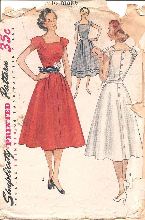 Oh, I love it!  It's the type of dress you could wear to school or to your first dance - 1950s Womens Dress  Simplicity 4288 Vintage Pattern by ErikawithaK