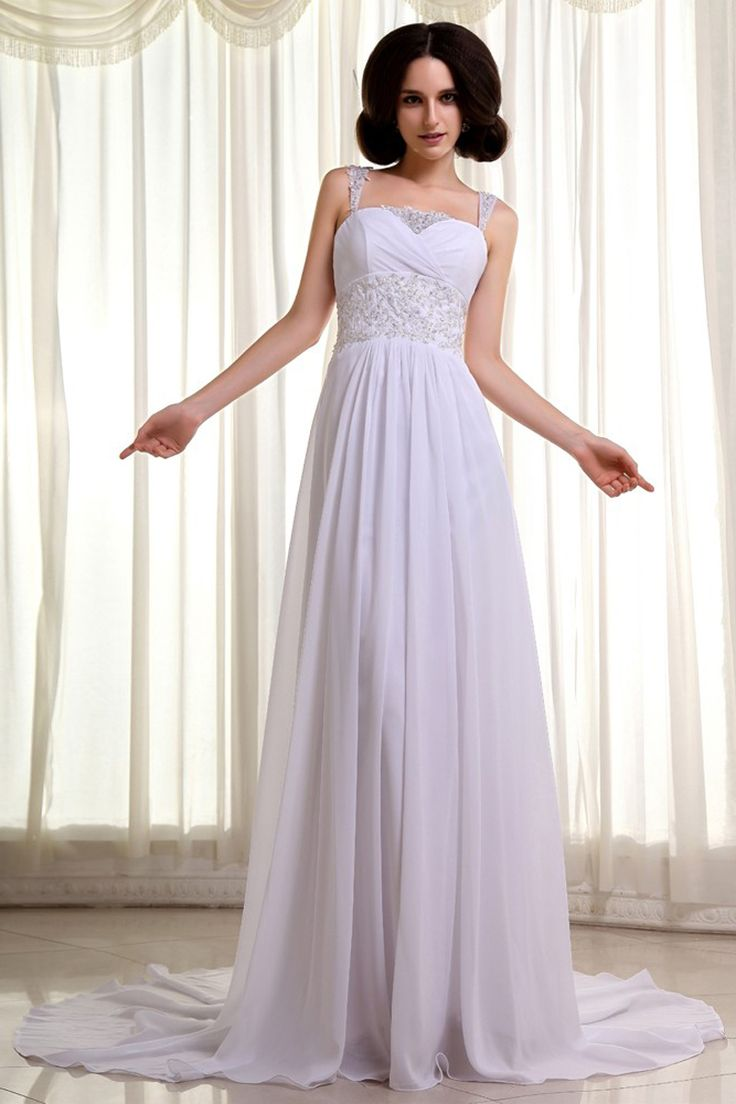 A line white chiffon court train straps wedding dress for White dresses for courthouse wedding