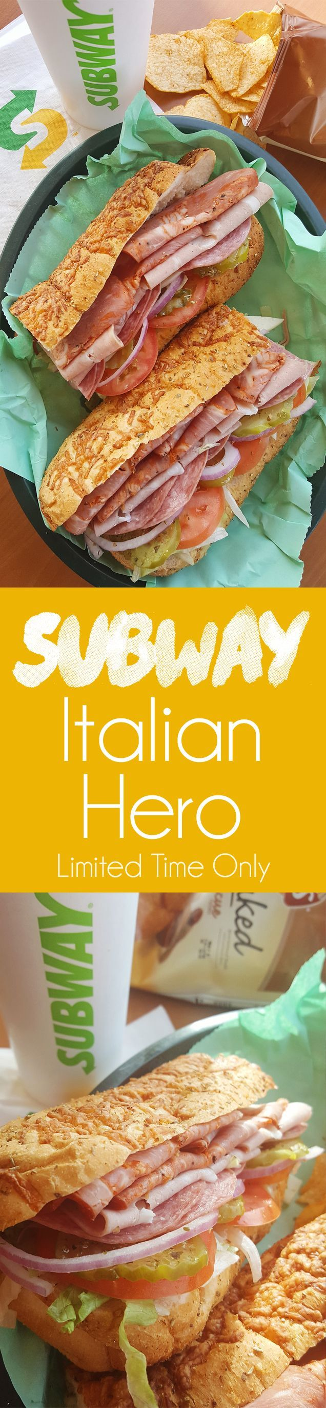 SUBWAY Italian Hero is a flavorful sub sandwich with authentic Italian flavors. Fresh bread is topped with Capicola, Mortadella, Genoa Salami, Provolone, your preferred veggies, oregano, oil and red wine vinegar for a delicious and convenient meal you will love! #Subway #BuildItBetter #Sponsored #Ad