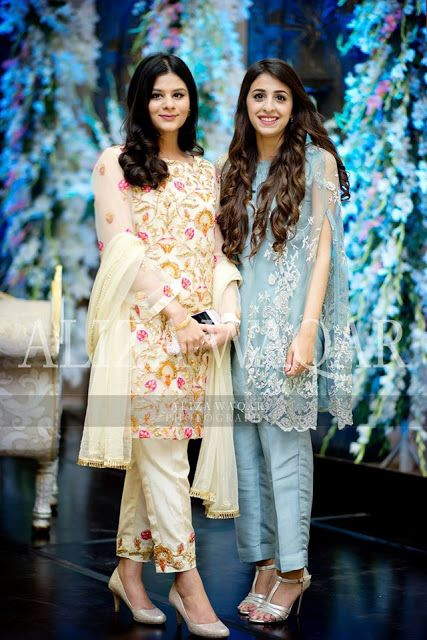 Embroidered Party wear Formal Fancy Medium Shirts with Cigarette Pants Dresses For Girls