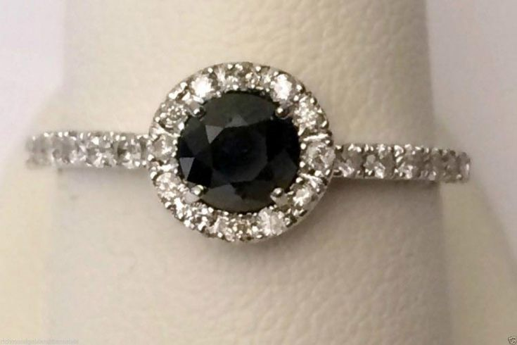 10kt White Gold Mystique Black and White Diamonds Halo Vintage Cathedral Engagement Ring (0.90ct. tw) by RG&D... #gold #diamonds #fashion #jewelery #love #gift #ringjacket #engagement #wedding #bridal #engaged #whitegold #yellowgold #online #shopping #jewelry #pintrest #follow #like #richmondgoldanddiamonds