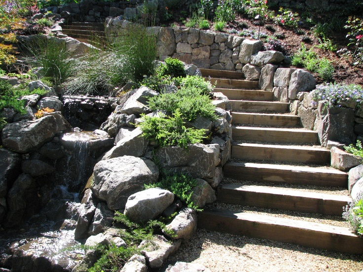 Treated wooden risers with rock retaining wall with a nice trickle as you go.