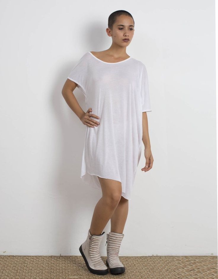 White Asymmetrical Oversized Top Bamboo