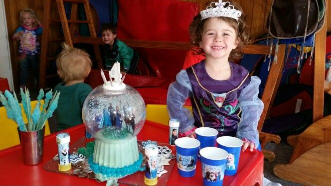 FROZEN PARTY snow globe cake, ice crystal sweets and GABBY IN HER ANNA DRESS