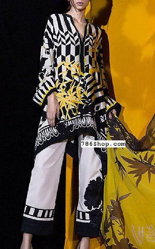 Black/White Linen Suit (2 Pcs) | Buy Muzlin by Sana Safinaz Pakistani Dresses and Clothing online in USA, UK