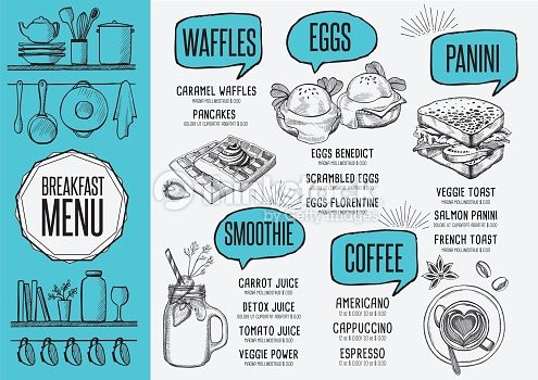 Vector Art : Menu breakfast restaurant, food template placemat.