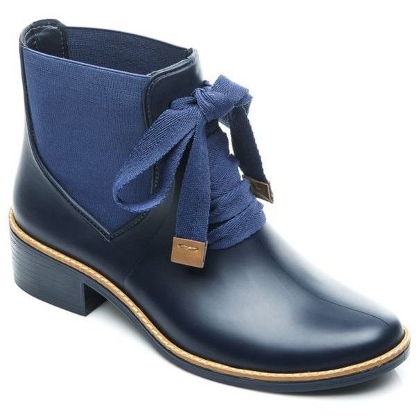 Bernardo Navy Lacey Rain Boot - Women's ($155) ❤ liked on Polyvore featuring shoes, boots, navy, wellies shoes, bernardo shoes, navy blue shoes, navy blue rain boots and rain boots