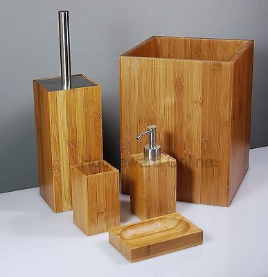 5pc #bamboo Wooden Bathroom Accessory Set Soap #dispenser Dish Brush # Accessories, View