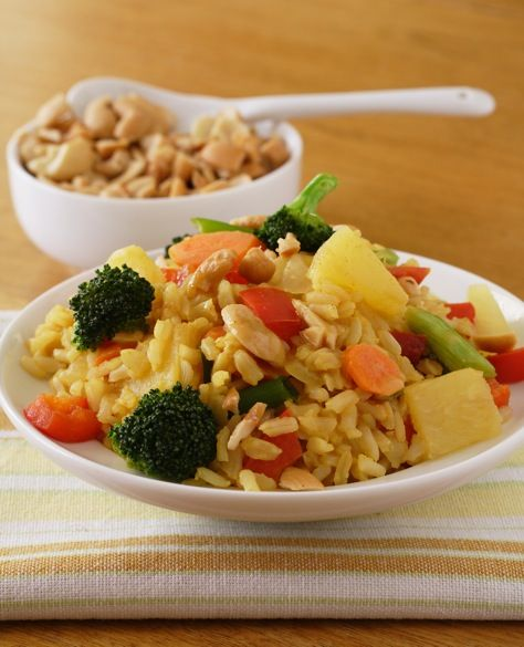 Collection of brown rice recipes from VegKitchen.