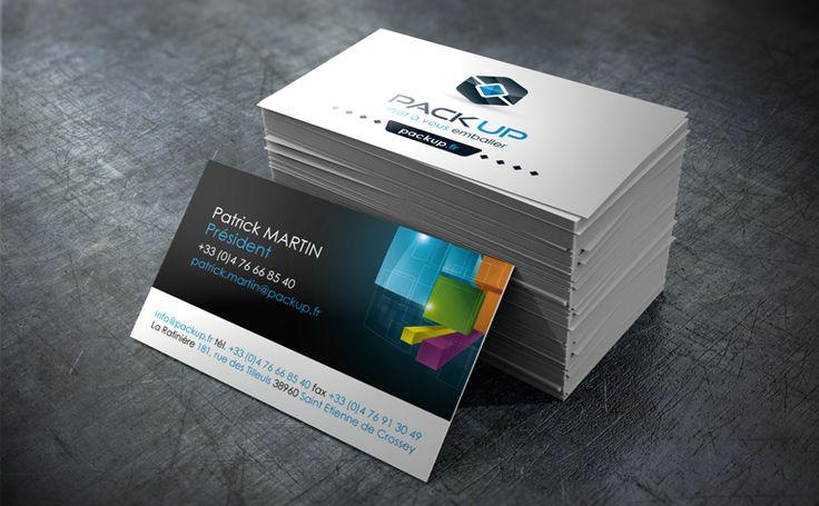 Adaptation de l'identité visuelle sur les cartes de visite de la société Pack UP #identity #logo #design #print #card