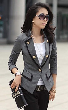 Love the blazer!!: Light Pink Blazers, Military Jackets, Outfits, Style Jackets, Clothing, Grey Blazers, Military Blazers, Military Style, Closet