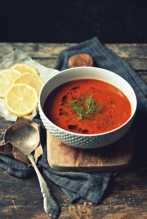 Caramelized Fennel, Roasted Garlic & Tomato Soup with Lemon