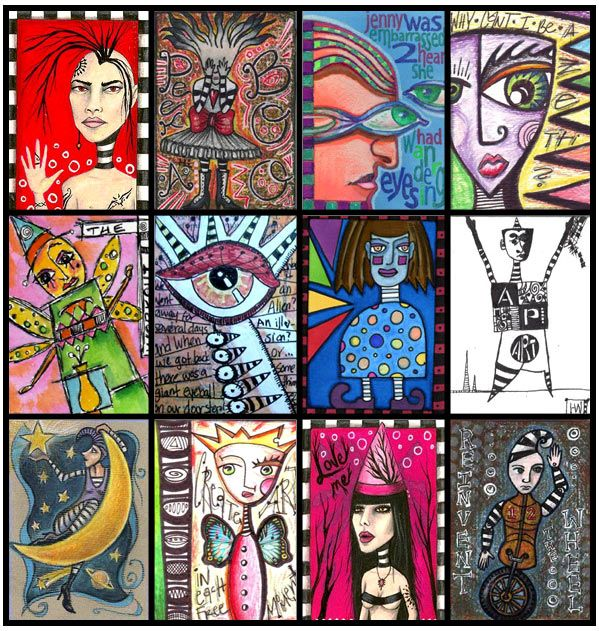 IllustratedATCs.com - Artist Trading Cards - Card Swap Gallery - hand-drawn zetti