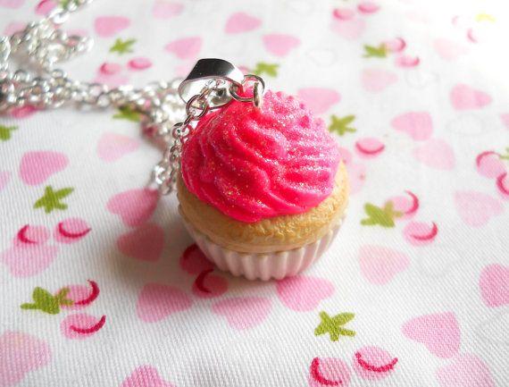 Cupcake Necklace Hot Pink Cupcake Glitter Cupcake by KawaiiKiosk