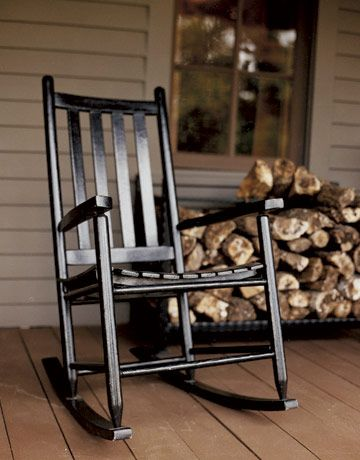 Black Rocking Chair- getting ready to paint our beat up, scuffed up white rocker black for the front porch. Get your paintbrush ready John... -elm