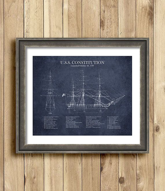 Frame not included. For staging purposes only.  Gorgeous blueprint of the U.S.S. Constitution, made to look old and weathered. Print includes information and stats about the U.S.S. Constitution, as well as several different schematics of the ship. This print looks fantastic framed and hung on any wall in your home--just think how great it would look in your den, your office or on your fireplace mantle! A great gift for the history or military buff in your family!  All prints are printed on…