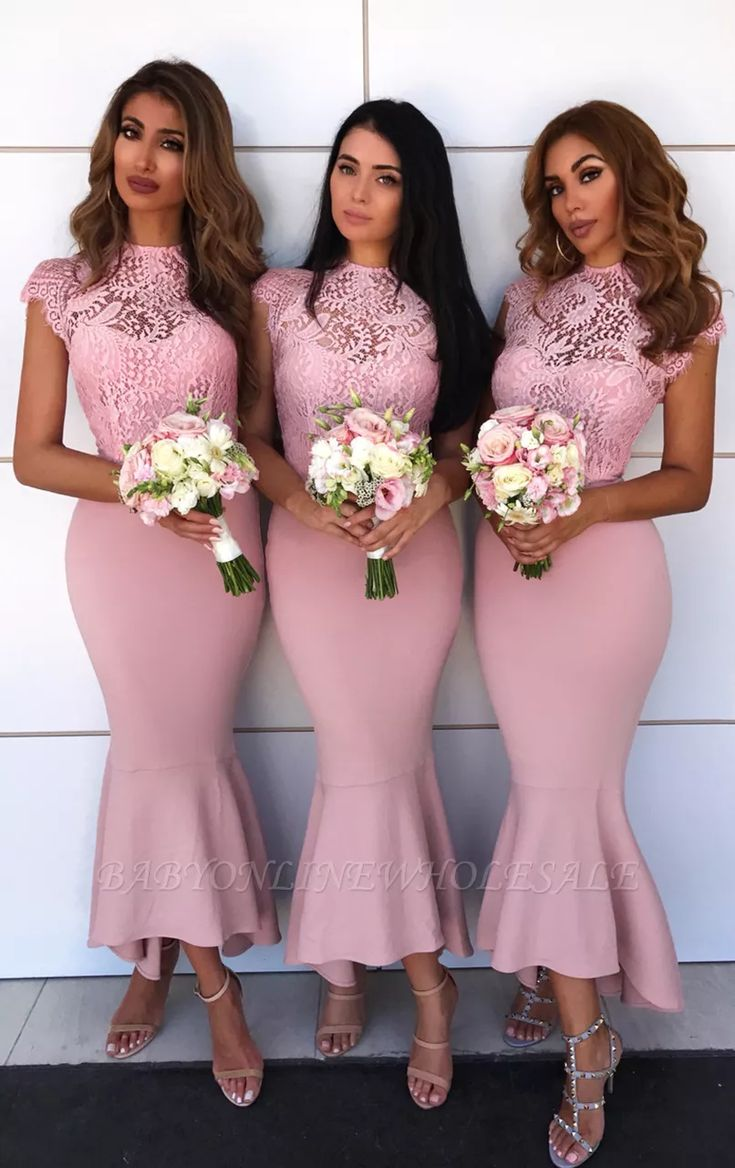 High Neck Pink Lace Bridesmaid Dresses Sexy | Cap Sleeve Mermaid Short Bridesmai…