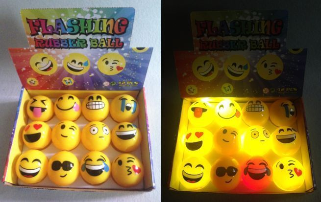 12 PCS Light Up Emoji Balls LED Flashing Emoticon Emotion Sensory Fun Dog Toy #Unbranded #BirthdayPartymPinataFiller