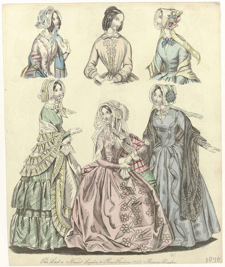 Anonymous | The World of Fashion, 1846 : The Last & Newest..., Anonymous, 1846 | De laatste en nieuwste modes van 1846 uit Londen en Parijs. Ochtendjaponnen met lange mouwen, v-hals en wijde geplooide rok. Sjaals, afgezet met gerimpelde stroken stof. Hoeden met linten en bloemen. Prent uit het modetijdschrift The World of Fashion (1824-1891).