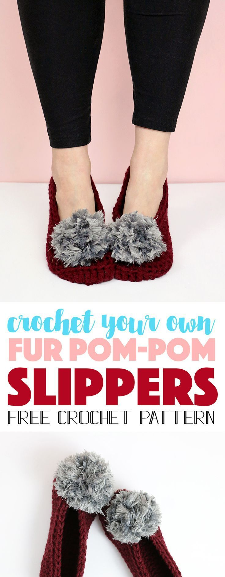 31 best crochet for your feet images on pinterest knit crochet fur pom pom slippers free crochet pattern bankloansurffo Image collections