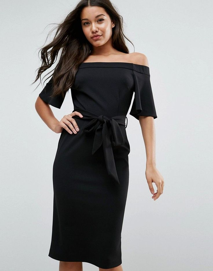 ASOS Midi Dress with Off Shoulder and Self Tie - Black