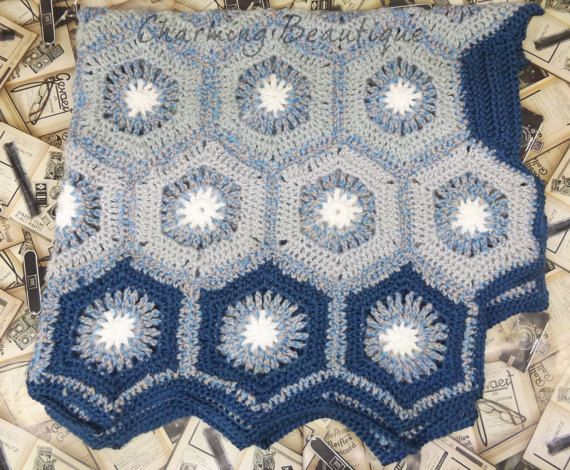 Crochet Hexagon Baby Boy Blanket Afghan baby Blanket