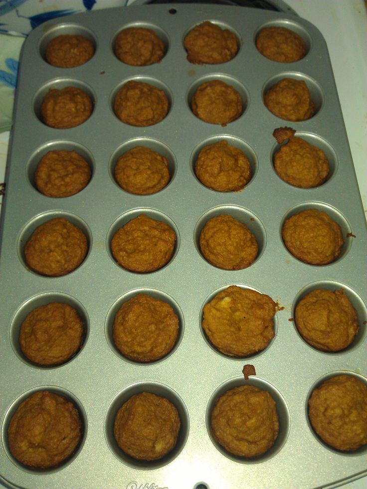Muffins using left over baby cereal and baby food. Be sure to add 1/2 cup sugar. It was left out of the ingredients list.