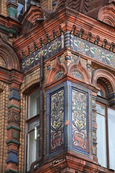 Igumnov's House. Detail of the decoration. It was built in 1883 – 1893 by Nikolay Igumnov, a rich Russian merchant. Architect: Nikolay Pozdeev. Nowadays, the residence of the French Ambassador to Russia is situated here. Moscow, #Russia