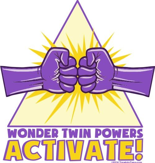Wonder Twin Powers Activate!  These come in tees and onesies for when your twins want to play superheroes!