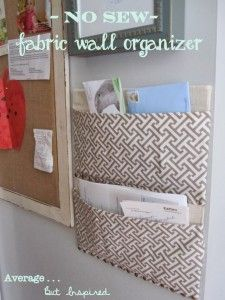 Upcycle cardboard & fabric into a No Sew Fabric Mail Sorter / Wall Organizer - Tutorial