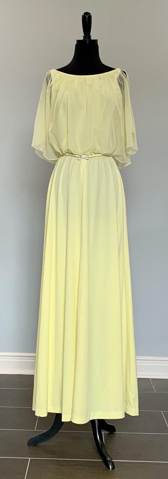 1970s Montgomery Ward Lemon Yellow Chiffon Formal Maxi Dress Size 6 8 Semi Formal Bridesmaid Pro Elegant Dresses Long Maxi Dress Formal Semi Formal Dresses [ 1622 x 570 Pixel ]