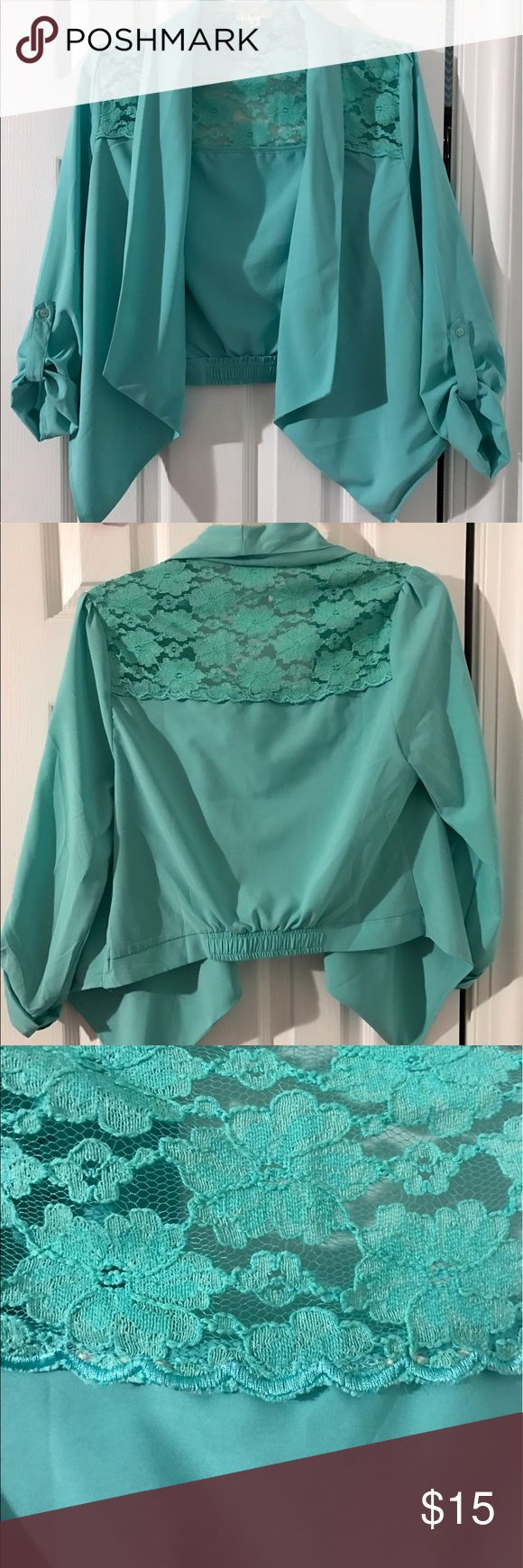 Turquoise Blazer Not actually Free People, just wrote that for the views. Turquoise silky blazer with lace details. Cropped length, rolled sleeves, elastic in back. Only worn once! Free People Jackets & Coats Blazers