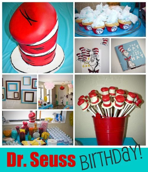 Dr. Seuss Birthday Theme! Definitely doing this for a party theme, whether my kid wants it or not ;)  Love the put the hat on the cat game!
