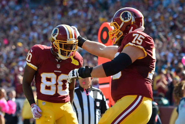 Eagles vs. Redskins:     October 16, 2016   -  27-20, Redskins  -    Washington Redskins wide receiver Jamison Crowder, left, celebrates his touchdown catch with teammate Brandon Scherff in the first half of an NFL football game against the Philadelphia Eagles, Sunday, Oct. 16, 2016, in Landover, Md.