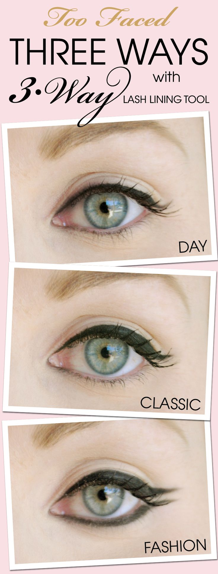 143 best makeup images on pinterest make up looks makeup ideas we asked three ladies in the too faced corporate offices to create day classic and night liner looks using our lash lining tool liner available at baditri Choice Image