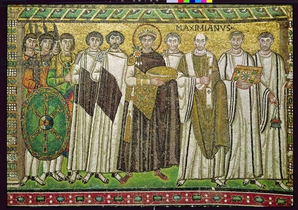 Emperor Justinian I (c. 482-565) and his retinue of officials, guards and clergy, c.547 AD (mosaic). Son of Sabbatius and Vigilantia. Husband to Theodora